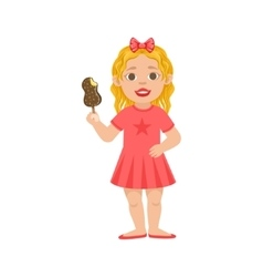 White Girl Kid Standing With Ice-cream Part Of vector image
