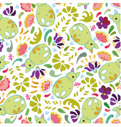 white pattern with green fox and flowers vector image
