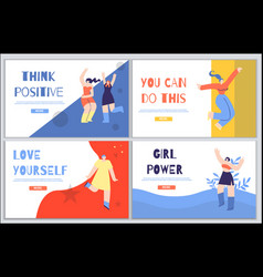 Woman inspirational landing page set in flat style vector