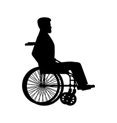 Disabled wheelchair silhouette Man sits in vector image