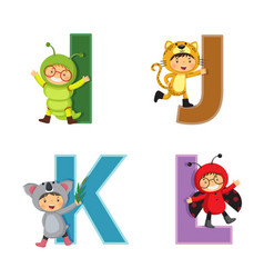 english alphabet with kids in animal costume i-l vector image