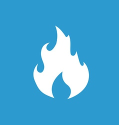 fire icon white on the blue background vector image vector image