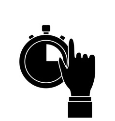 hand man with clock time management productivity vector image