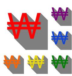 won sign set of red orange yellow green blue vector image