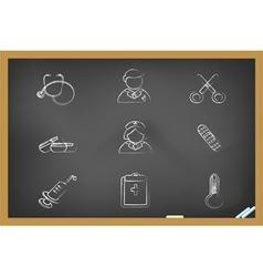 blackboard medical icons vector image vector image