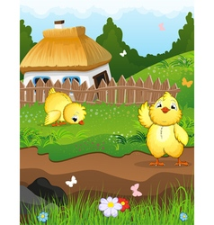 Chickens near the house vector image