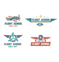 Flight school emblems vector image vector image