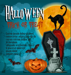 halloween holiday night trick treat poster vector image