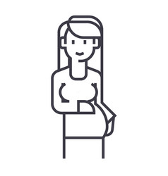 pregnant woman sign line icon sign vector image