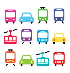 Transport travel icons set isolated vector image