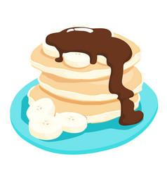 chocolate sauce with banana pancake xa vector image vector image