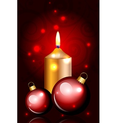 christmas balls and candle red vector image vector image