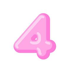 Number 4 candy font caramel alphabet four vector