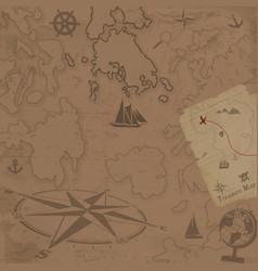 retro style treasure map background vector image