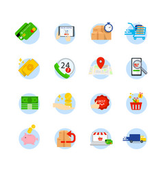 Set of e-commerce flat icons icons as shop vector