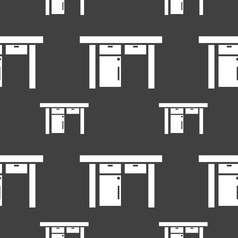 Table icon sign Seamless pattern on a gray vector image