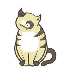 cartoon cat kitten sitting flat icon vector image vector image