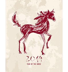 Chinese new year of the Horse abstract red shape vector image vector image
