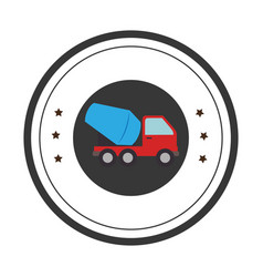 color circular emblem with cement mixer truck vector image
