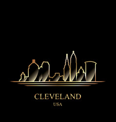 gold silhouette of cleveland on black background vector image vector image