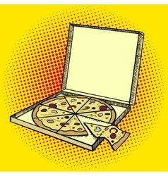 Pizza box pop art style vector image
