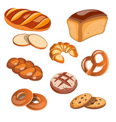 set of bread products isolated vector image vector image