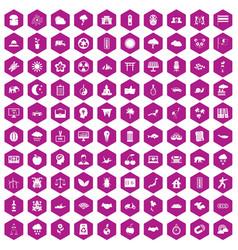 100 harmony icons hexagon violet vector