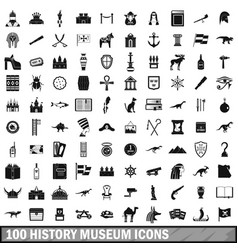100 history museum icons set simple style vector