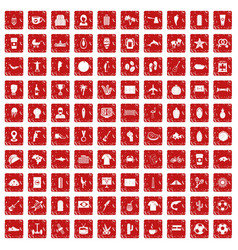 100 south america icons set grunge red vector image