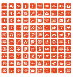 100 web and mobile icons set grunge orange vector image