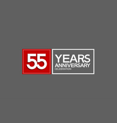 55 years anniversary in square with white and red vector