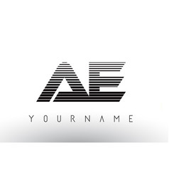 Ae black and white horizontal stripes letter logo vector