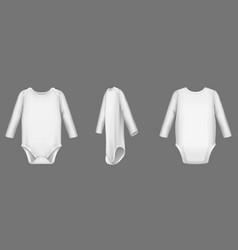 Baby body white bodysuit or romper mockup set vector