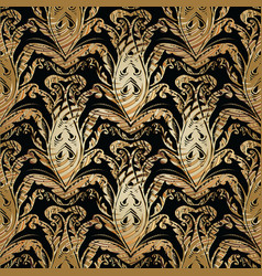 baroque damask gold seamless pattern vector image
