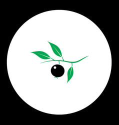 Berry with leaves fruit simple black and green vector