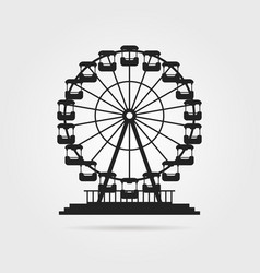 Black ferris wheel with shadow vector