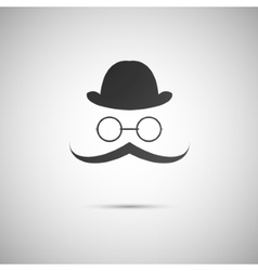 Black hat with a mustache and glasses vector