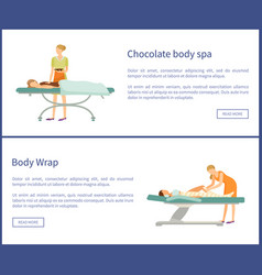 Body chocolate spa and wrap of legs women vector