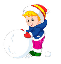 cartoon kids playing with snow vector image