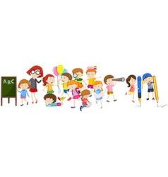 Children doing different activities at school vector image