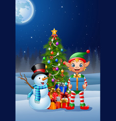 christmas background with elf and snowman vector image