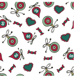 Christmas pattern with baubles sweet candies and vector