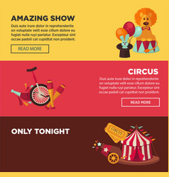 circus with amazing show advertisement web pages vector image
