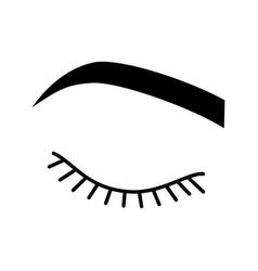 Closed woman eye glyph icon vector