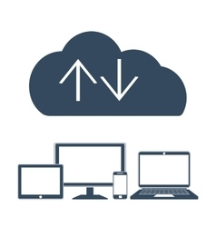Cloud computing Network Connected all Devices vector
