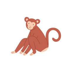 cute brown baby monkey sitting and smiling vector image