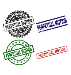 Damaged textured perpetual motion seal stamps vector