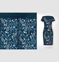 denim floral seamless pattern on realistic vector image
