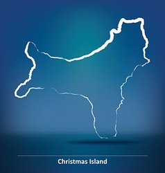 Doodle Map of Christmas Island vector image