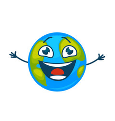 Earth planet laughing cartoon character vector